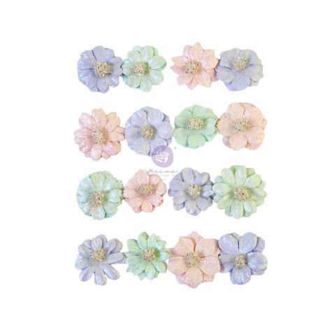 Prima Watercolor Floral Mulberry Paper Flowers 16/Pkg - Pretty Tints