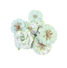 Prima Watercolor Floral Mulberry Paper Flowers 8/Pkg - Minty Water