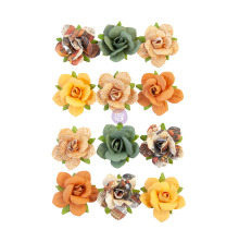 Prima Diamond Mulberry Paper Flowers 12/Pkg - Beautiful Sunset