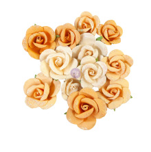 Prima Diamond Mulberry Paper Flowers 12/Pkg - Rising Fire
