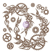 Prima Decorative Chipboard 13/Pkg - Steampunk Wreath