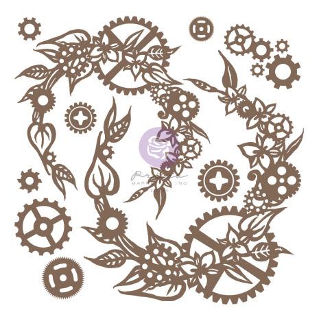 Prima Decorative Chipboard 13/Pkg - Steampunk Wreath