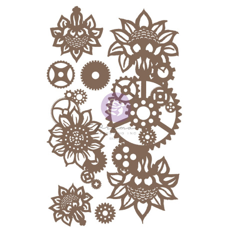 Prima Decorative Chipboard 7/Pkg - Machine Floral Decors