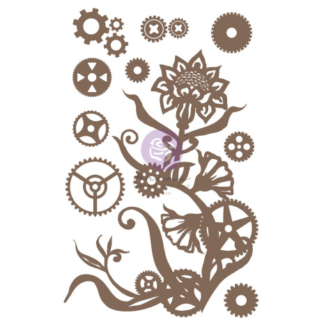 Prima Decorative Chipboard 13/Pkg - Steampunk Flowers