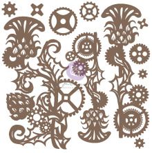 Prima Decorative Chipboard 11/Pkg - Mechanical Thistle