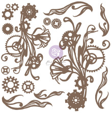 Prima Decorative Chipboard 16/Pkg - Mechanical Flourishes