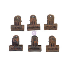 Prima Art Daily Planner Metal Clips 6/Pkg - Rusty