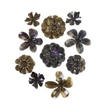 Prima Finnabair Metal Mechanicals 10/Pkg - Metal Blooms