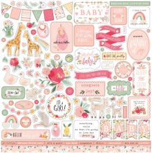 Echo Park Welcome Baby Girl Cardstock Stickers - Elements