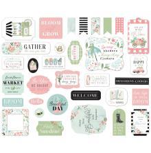 Carta Bella Flower Garden Cardstock Die-Cuts 33/Pkg - Ephemera