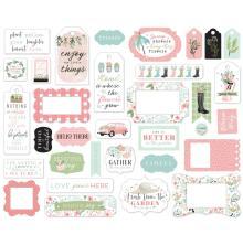 Carta Bella Flower Garden Cardstock Die-Cuts 33/Pkg - Frames & Tags