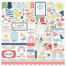 Echo Park Little Dreamer Girl Cardstock Stickers - Elements