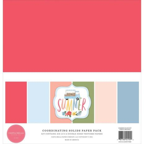 Carta Bella Solid Cardstock 12X12 6/Pkg - Summer