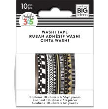 Me & My Big Ideas Happy Planner Skinny Washi Tape - Black & White
