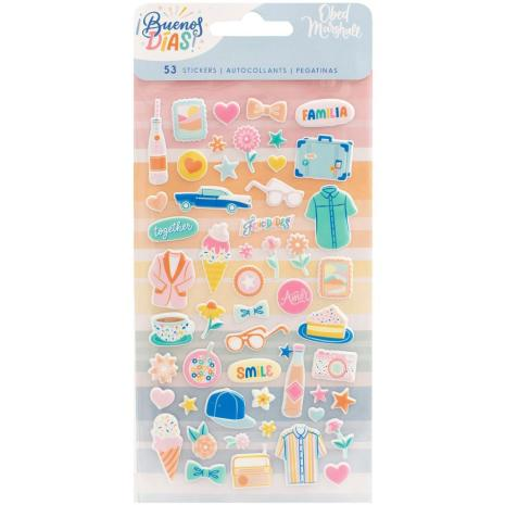 American Crafts Mini Puffy Stickers 53/Pkg - Obed Marshall Buenos Dias
