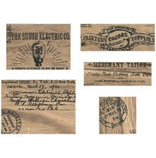 Tim Holtz Idea-Ology Wooden Vignette Panels 5/Pkg - Adverts