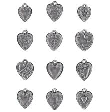 Tim Holtz Idea-Ology Metal Adornments 12/Pkg - Hearts