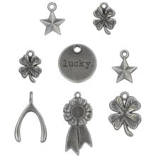 Tim Holtz Idea-Ology Metal Adornments 8/Pkg - Lucky