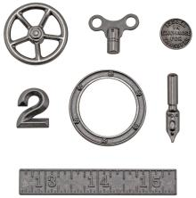 Tim Holtz Idea-Ology Metal Odds & Ends 7/Pkg - Antique Nickel