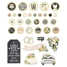 Simple Stories Decorative Metal Brads 34/Pkg - Happily Ever After