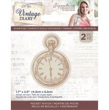 Sara Davies Vintage Diary Stamp & Die - Pocket Watch