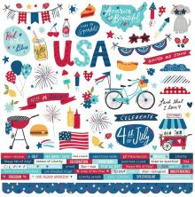 Simple Stories Sticker Sheet 12X12 - Stars, Stripes + Sparklers