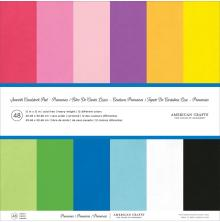 American Crafts Smooth Cardstock Pack 80lb 12X12 48/Pkg - Primaries