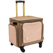 We R Memory Keepers Crafters Rolling Bag - Taupe & Pink