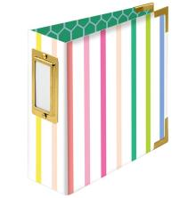 We R Memory Keepers Paper Wrapped D-Ring Album 4X4 - Striped By Paige Evans