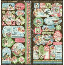 Graphic 45 Cardstock Stickers 12X12 - Bird Watcher