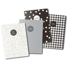 Carpe Diem A6 Notebooks 4/Pkg - Monochrome