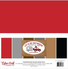 Echo Park Solid Cardstock 12X12 6/Pkg - Lets Go Anywhere