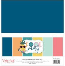 Echo Park Solid Cardstock 12X12 6/Pkg - Pool Party