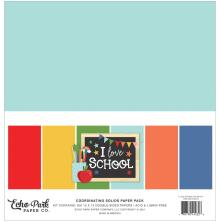 Echo Park Solid Cardstock 12X12 6/Pkg - I Love School