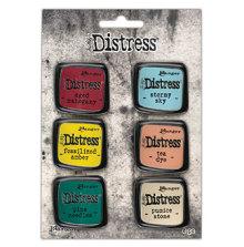 Tim Holtz Distress Enamel Collector Pin Set 6/Pkg - Set 10