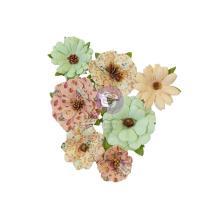 Prima Hello Pink Autumn Mulberry Paper Flowers 7/Pkg - Warm Mittens