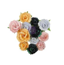 Prima Thirty-One Mulberry Paper Flowers 12/Pkg - Candy Corn