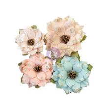 Prima Christmas Sparkle Mulberry Paper Flowers 4/Pkg - Sparkly Jolly