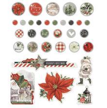 Simple Stories Self-Adhesive Brads 32/Pkg - SV Rustic Christmas