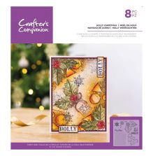 Crafters Companion Clear Acrylic Stamp - Holly Christmas