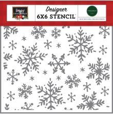 Carta Bella Happy Christmas Stencil 6X6 - Happy Snowflakes