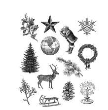 Tim Holtz Cling Stamps 7X8.5 - Holiday Things CMS441
