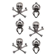 Tim Holtz Idea-Ology Metal Adornments 6/Pkg - Skulls & Spiders