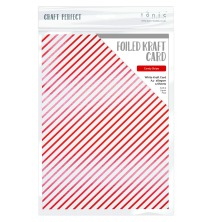 Tonic Studios Craft Perfect Foiled Kraft Card A4  - Candy Stripe 9351E