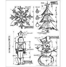 Tim Holtz Cling Stamps 7X8.5 - Christmas Blueprint