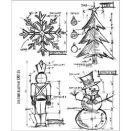 Tim Holtz Cling Rubber Stamp Set - Christmas Blueprint