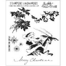 Tim Holtz Cling Stamps 7X8.5 - Christmas Time