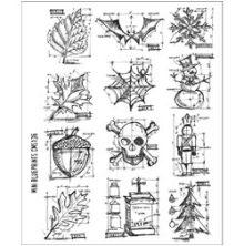 Tim Holtz Cling Stamps 7X8.5 - Mini Blueprints