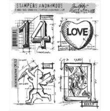 Tim Holtz Cling Stamps 7X8.5 - Valentine Blueprint