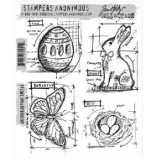 Tim Holtz Cling Stamps 7X8.5 - Easter Blueprint